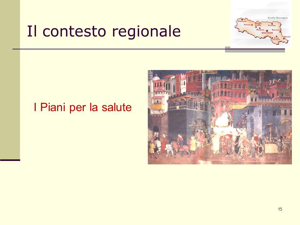 15 I Piani per la salute Il contesto regionale
