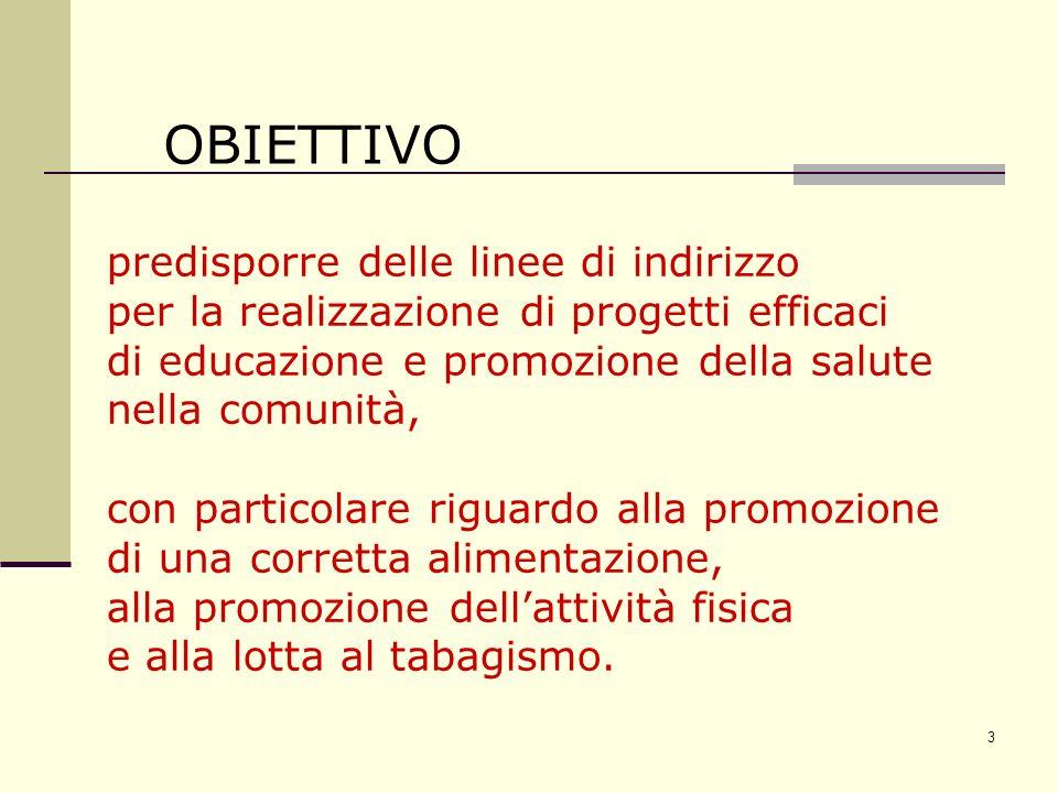3 OBIETTIVO predisporre delle linee di indirizzo per la realizzazione di progetti efficaci di educazione e promozione della salute nella comunità, con