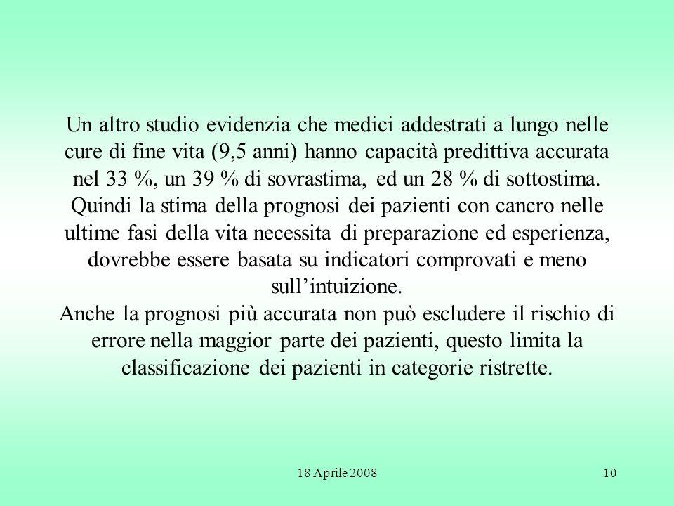 18 Aprile 200810 Un altro studio evidenzia che medici addestrati a lungo nelle cure di fine vita (9,5 anni) hanno capacità predittiva accurata nel 33
