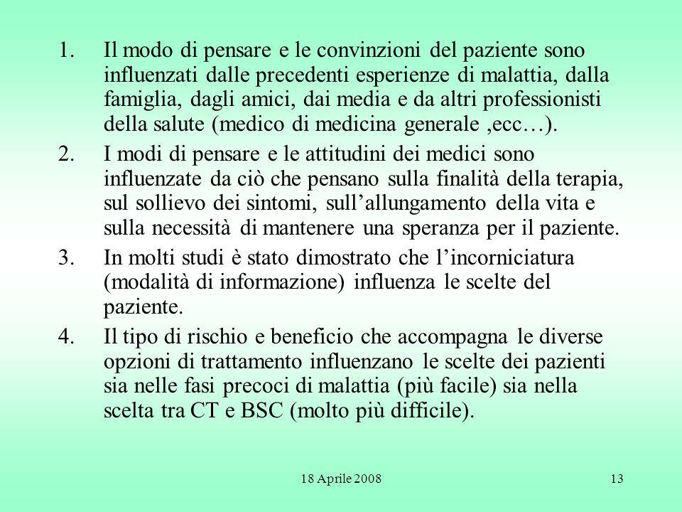 18 Aprile 200813 1.Il modo di pensare e le convinzioni del paziente sono influenzati dalle precedenti esperienze di malattia, dalla famiglia, dagli am