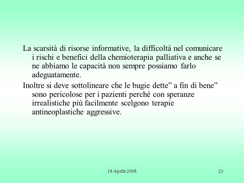 18 Aprile 200823 La scarsità di risorse informative, la difficoltà nel comunicare i rischi e benefici della chemioterapia palliativa e anche se ne abb