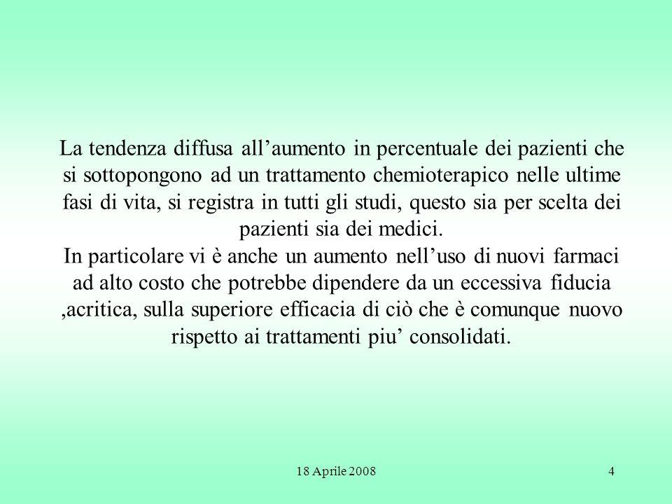 18 Aprile 20084 La tendenza diffusa allaumento in percentuale dei pazienti che si sottopongono ad un trattamento chemioterapico nelle ultime fasi di v
