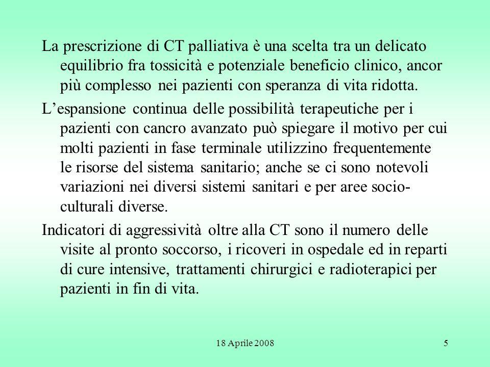 18 Aprile 20085 La prescrizione di CT palliativa è una scelta tra un delicato equilibrio fra tossicità e potenziale beneficio clinico, ancor più compl