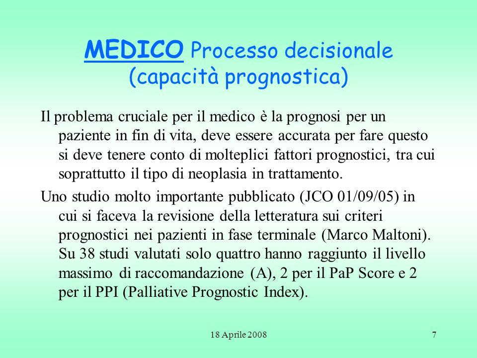 18 Aprile 20088 In Particolare il PaP Score tiene conto di alcuni parametri: Dispnea, Anoressia, Karnofsky (PS), PCS (previsione clinica di sopravvivenza in settimane), Leucocitosi, Linfocitopenia.