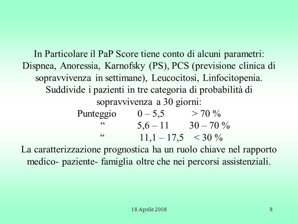 18 Aprile 200819 Inoltre i pazienti inclusi negli studi sono tutti inseriti sulla base dellavvenuto decesso e questo rappresenta un gigantesco BIAS (selezione della casistica).