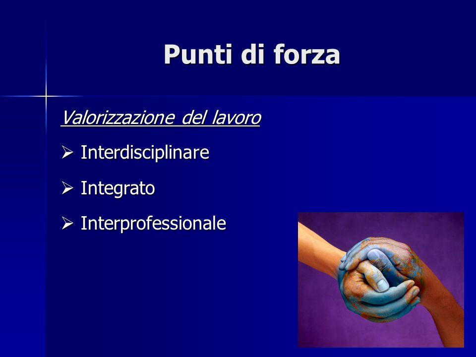 Punti di forza Valorizzazione del lavoro Interdisciplinare Interdisciplinare Integrato Integrato Interprofessionale Interprofessionale