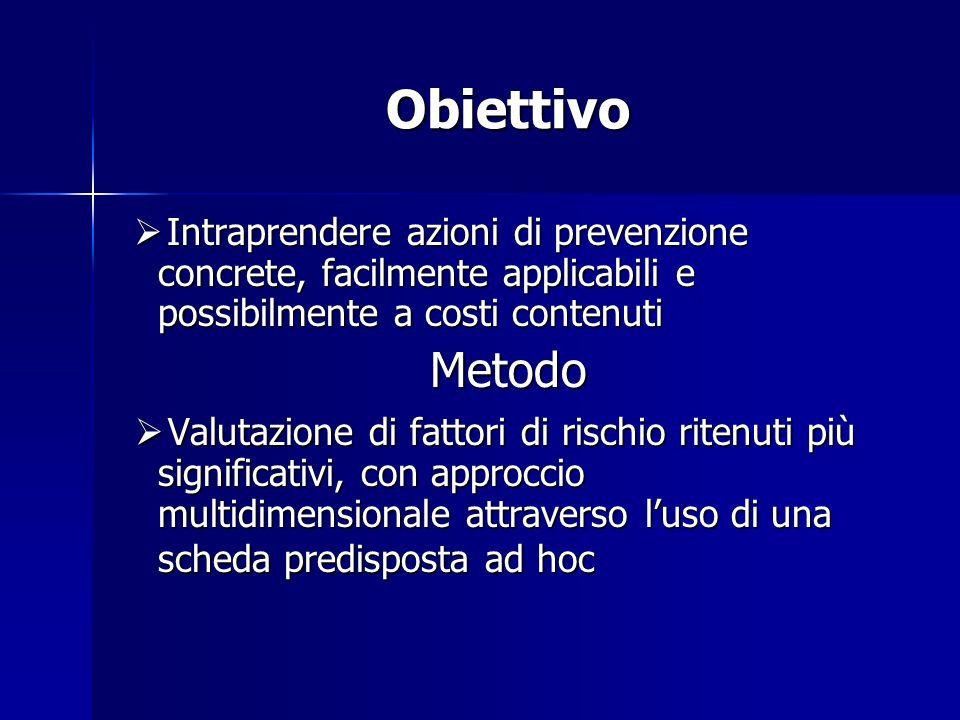 Obiettivo Intraprendere azioni di prevenzione concrete, facilmente applicabili e possibilmente a costi contenuti Intraprendere azioni di prevenzione c
