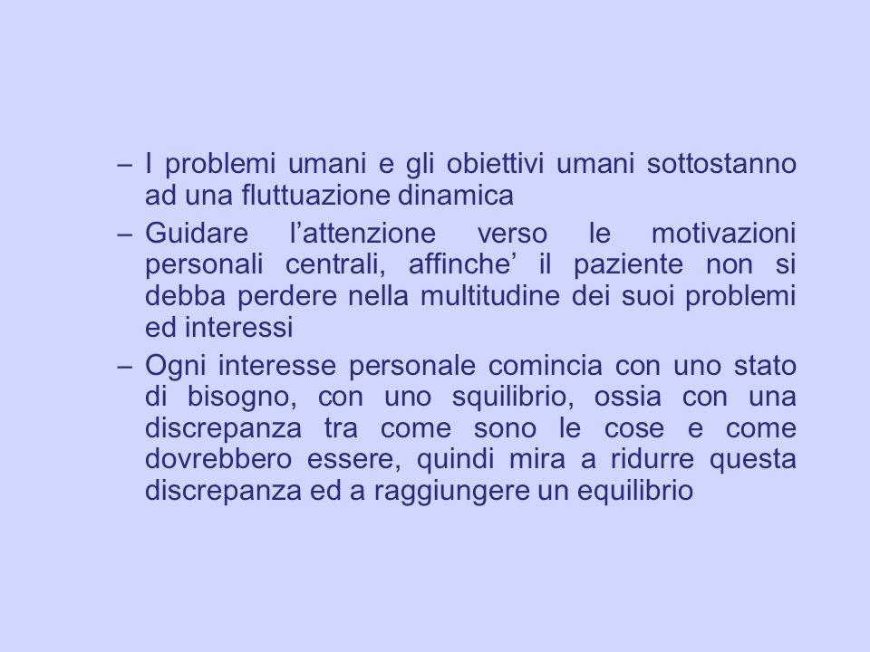 –I problemi umani e gli obiettivi umani sottostanno ad una fluttuazione dinamica –Guidare l attenzione verso le motivazioni personali centrali, affinc