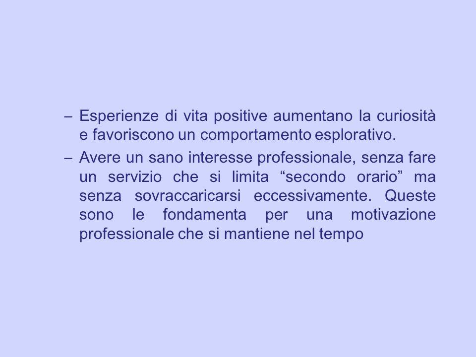 –Esperienze di vita positive aumentano la curiosit à e favoriscono un comportamento esplorativo. –Avere un sano interesse professionale, senza fare un