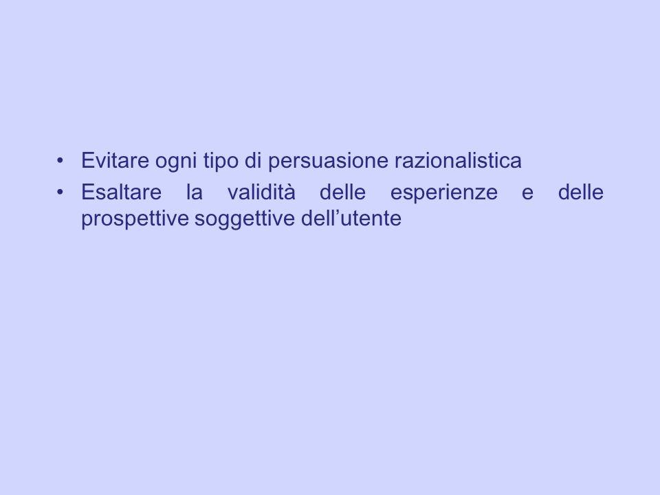 Evitare ogni tipo di persuasione razionalistica Esaltare la validit à delle esperienze e delle prospettive soggettive dell utente