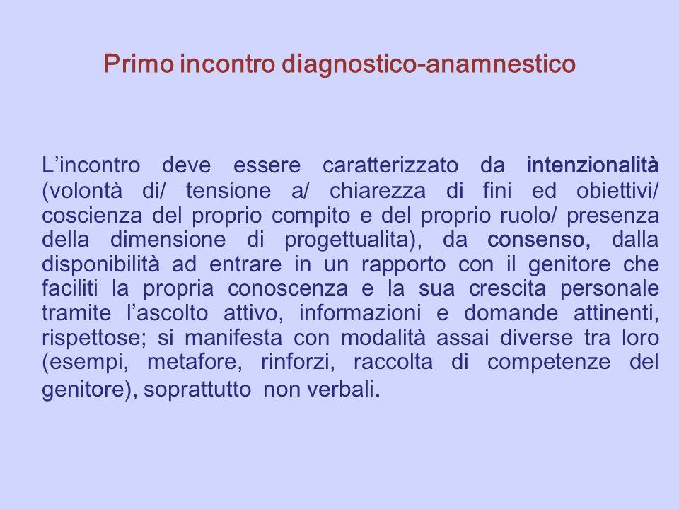 Primo incontro diagnostico-anamnestico L incontro deve essere caratterizzato da intenzionalit à (volont à di/ tensione a/ chiarezza di fini ed obietti