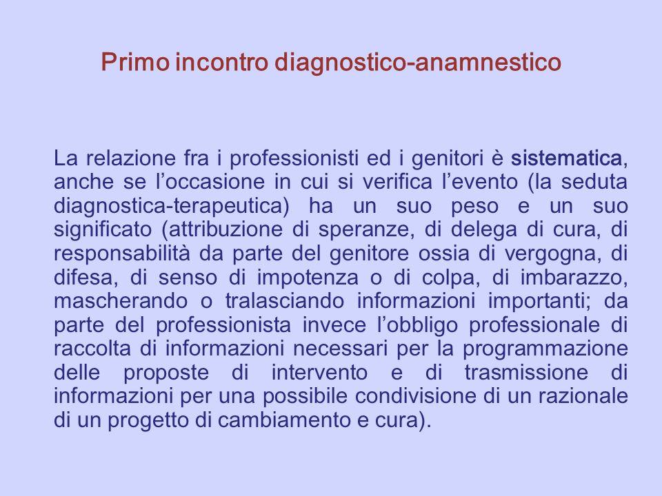 Primo incontro diagnostico-anamnestico La relazione fra i professionisti ed i genitori è sistematica, anche se l occasione in cui si verifica l evento