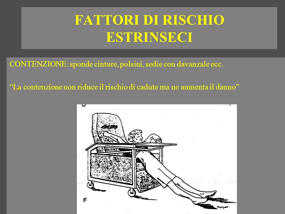 FATTORI DI RISCHIO ESTRINSECI CONTENZIONE: sponde cinture, polsini, sedie con davanzale ecc. La contenzione non riduce il rischio di cadute ma ne aume