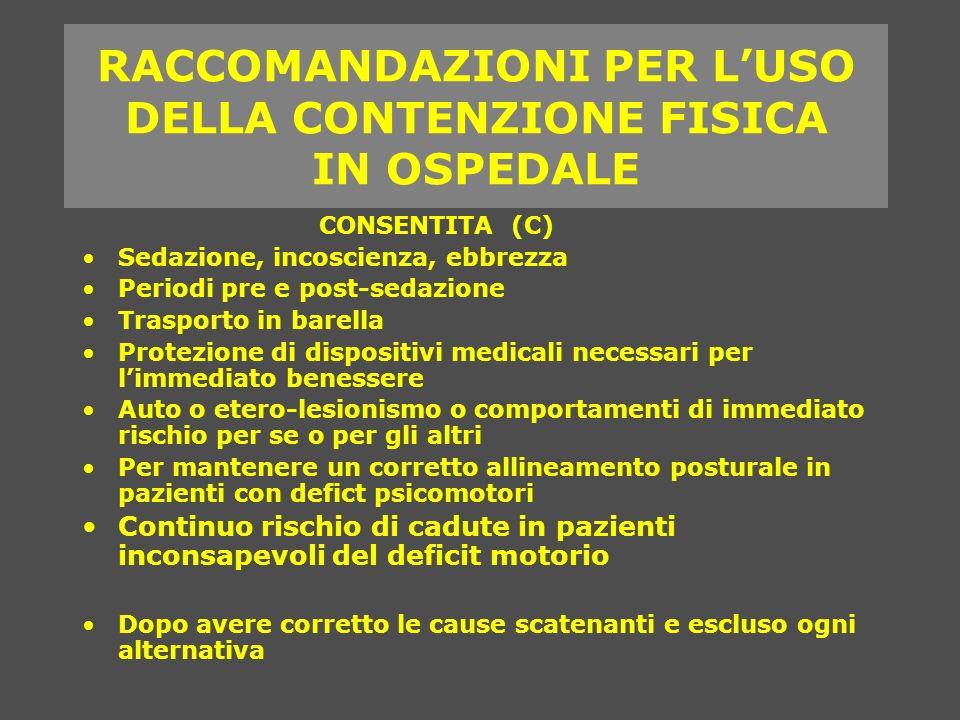 RACCOMANDAZIONI PER LUSO DELLA CONTENZIONE FISICA IN OSPEDALE CONSENTITA (C) Sedazione, incoscienza, ebbrezza Periodi pre e post-sedazione Trasporto i