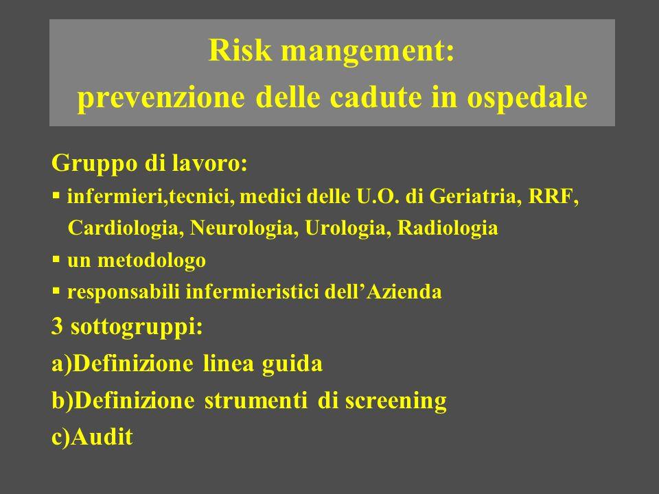 Risk mangement: prevenzione delle cadute in ospedale Gruppo di lavoro: infermieri,tecnici, medici delle U.O. di Geriatria, RRF, Cardiologia, Neurologi