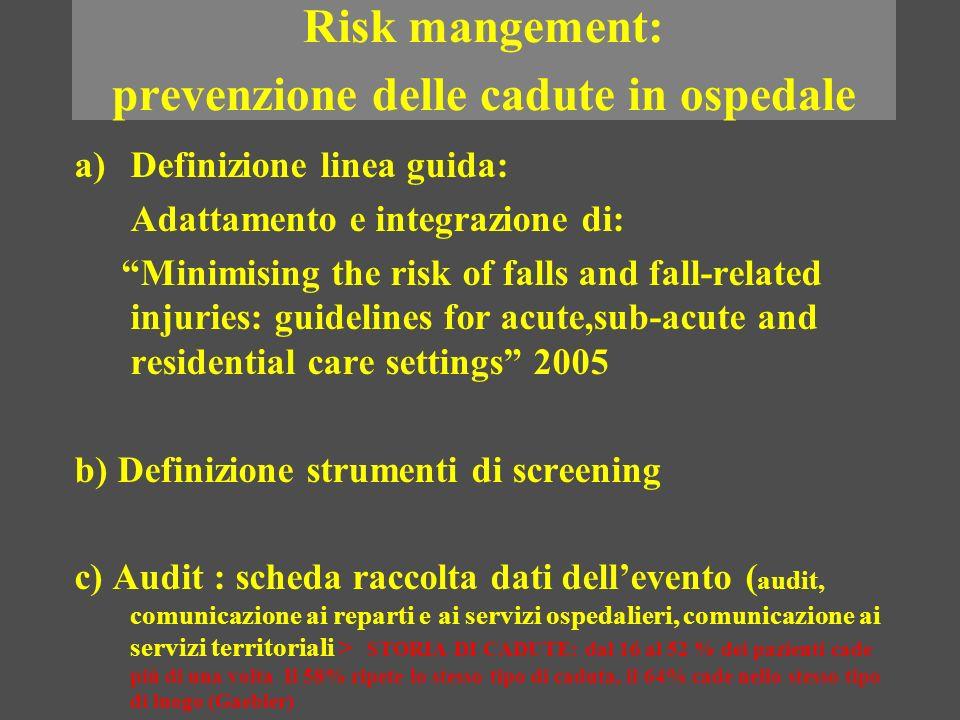 Risk mangement: prevenzione delle cadute in ospedale a)Definizione linea guida: Adattamento e integrazione di: Minimising the risk of falls and fall-r