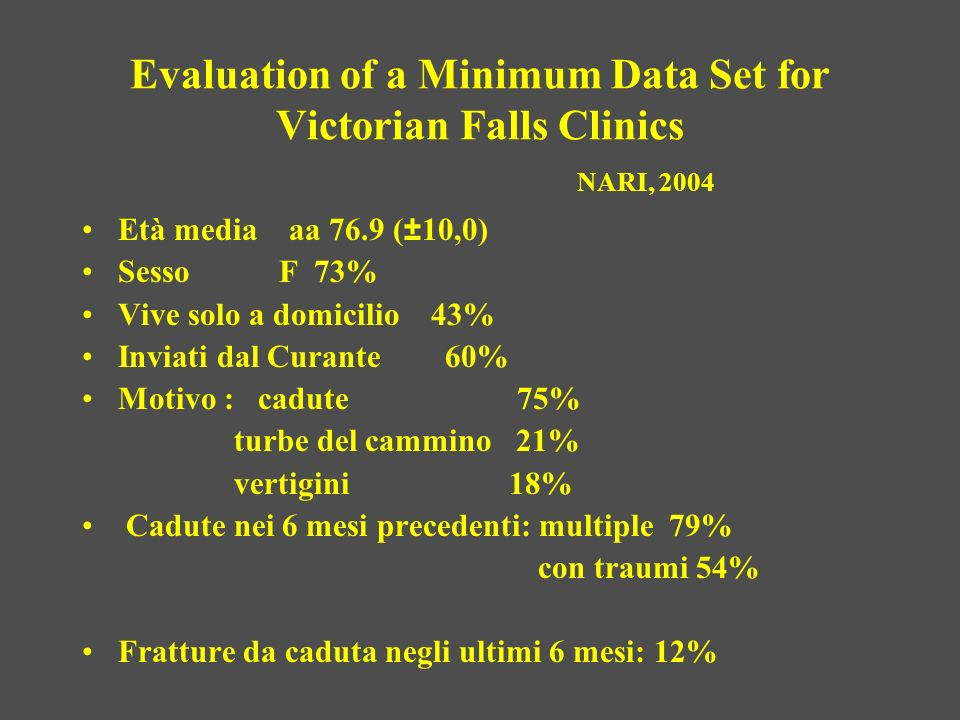 Evaluation of a Minimum Data Set for Victorian Falls Clinics NARI, 2004 Età media aa 76.9 (±10,0) Sesso F 73% Vive solo a domicilio 43% Inviati dal Cu