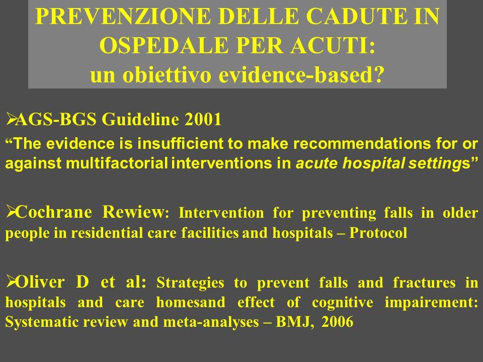 PREVENZIONE DELLE CADUTE IN OSPEDALE PER ACUTI: un obiettivo evidence-based? AGS-BGS Guideline 2001 The evidence is insufficient to make recommendatio