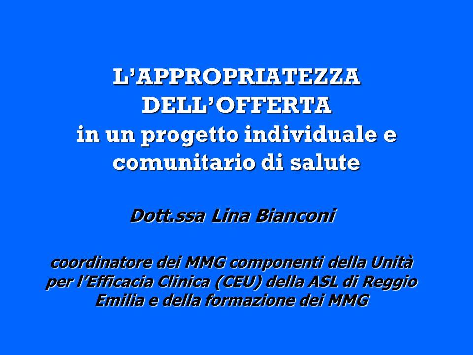 LAPPROPRIATEZZA DELLOFFERTA in un progetto individuale e comunitario di salute Dott.ssa Lina Bianconi coordinatore dei MMG componenti della Unità per lEfficacia Clinica (CEU) della ASL di Reggio Emilia e della formazione dei MMG