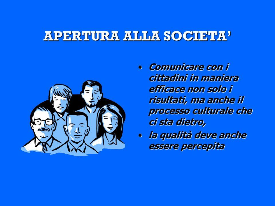 APERTURA ALLA SOCIETA Comunicare con i cittadini in maniera efficace non solo i risultati, ma anche il processo culturale che ci sta dietro,Comunicare con i cittadini in maniera efficace non solo i risultati, ma anche il processo culturale che ci sta dietro, la qualità deve anche essere percepitala qualità deve anche essere percepita
