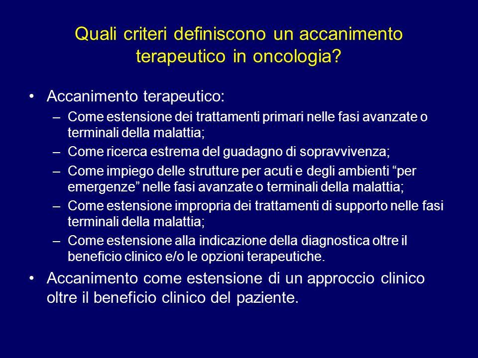 Quali criteri definiscono un accanimento terapeutico in oncologia? Accanimento terapeutico: –Come estensione dei trattamenti primari nelle fasi avanza