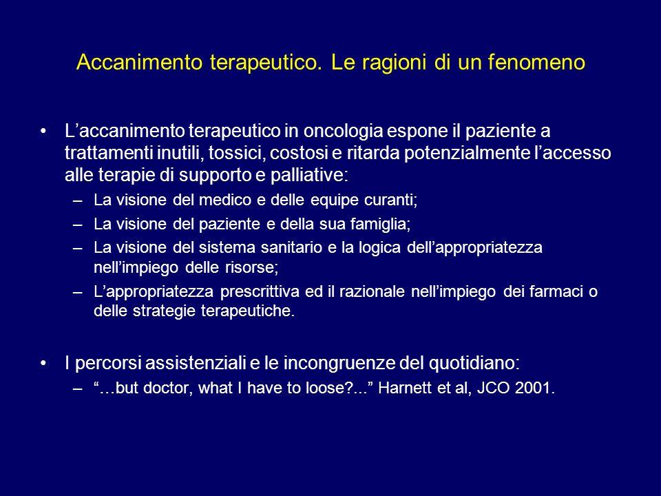 Accanimento terapeutico. Le ragioni di un fenomeno Laccanimento terapeutico in oncologia espone il paziente a trattamenti inutili, tossici, costosi e