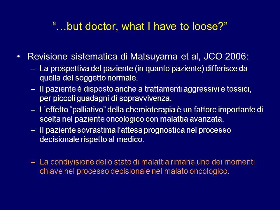 …but doctor, what I have to loose? Revisione sistematica di Matsuyama et al, JCO 2006: –La prospettiva del paziente (in quanto paziente) differisce da