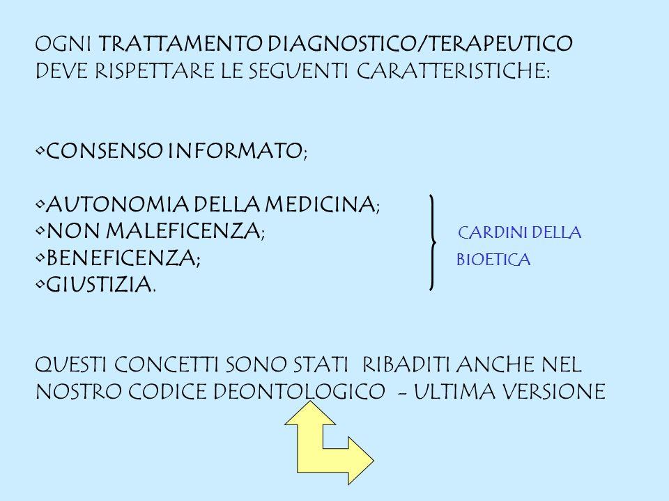 OGNI TRATTAMENTO DIAGNOSTICO/TERAPEUTICO DEVE RISPETTARE LE SEGUENTI CARATTERISTICHE: CONSENSO INFORMATO; AUTONOMIA DELLA MEDICINA; NON MALEFICENZA; CARDINI DELLA BENEFICENZA; BIOETICA GIUSTIZIA.