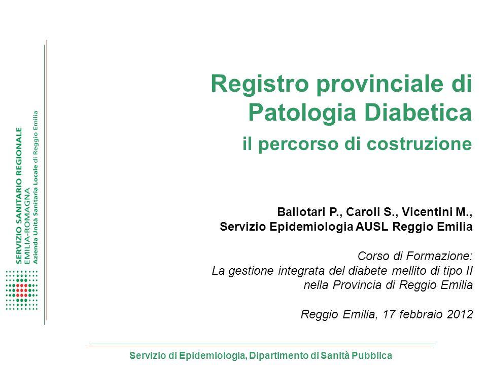 Servizio di Epidemiologia, Dipartimento di Sanità Pubblica Registro provinciale di Patologia Diabetica il percorso di costruzione Ballotari P., Caroli