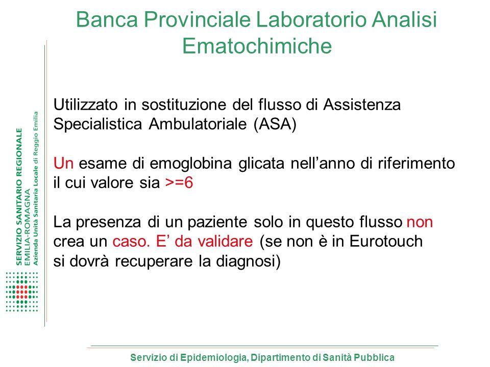Banca Provinciale Laboratorio Analisi Ematochimiche Utilizzato in sostituzione del flusso di Assistenza Specialistica Ambulatoriale (ASA) Un esame di