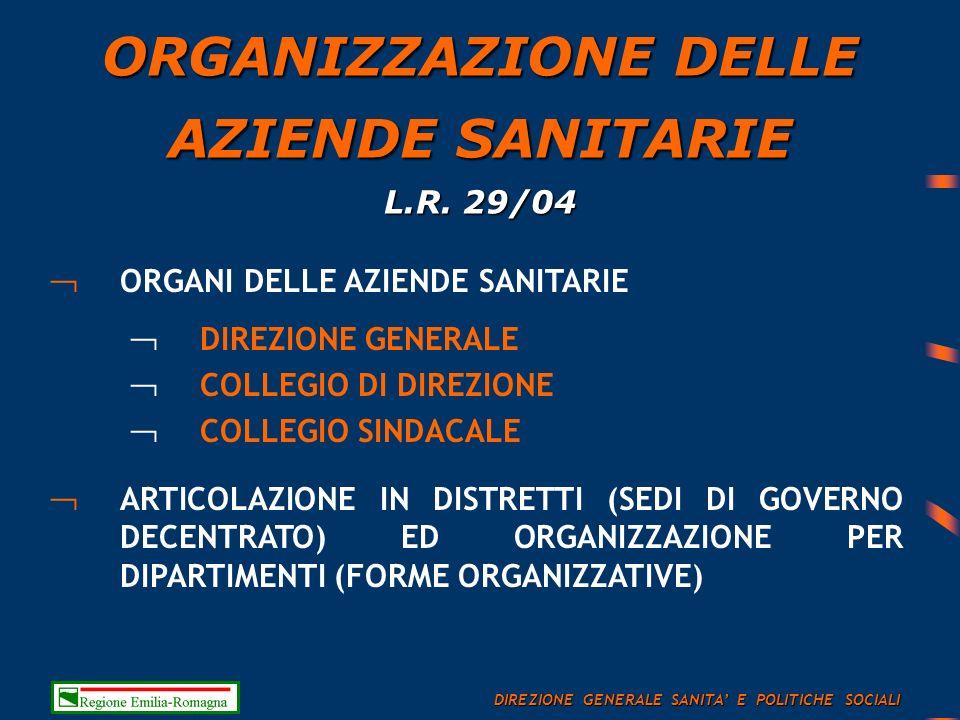 ORGANIZZAZIONE DELLE AZIENDE SANITARIE L.R.