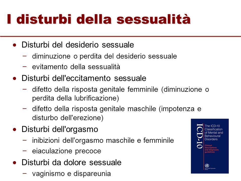 I disturbi della sessualità Disturbi del desiderio sessuale ̶ diminuzione o perdita del desiderio sessuale ̶ evitamento della sessualità Disturbi dell
