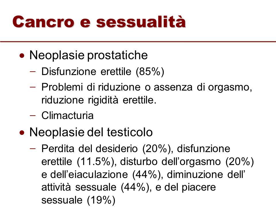 Neoplasie prostatiche ̶ Disfunzione erettile (85%) ̶ Problemi di riduzione o assenza di orgasmo, riduzione rigidità erettile. ̶ Climacturia Neoplasie