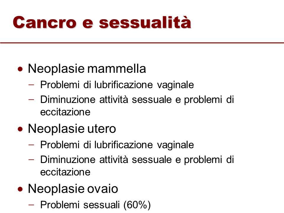 Neoplasie mammella ̶ Problemi di lubrificazione vaginale ̶ Diminuzione attività sessuale e problemi di eccitazione Neoplasie utero ̶ Problemi di lubri