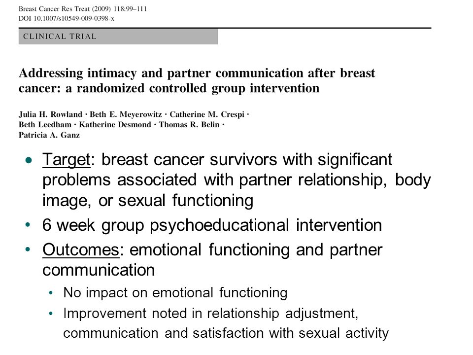 Target: breast cancer survivors with significant problems associated with partner relationship, body image, or sexual functioning 6 week group psychoe