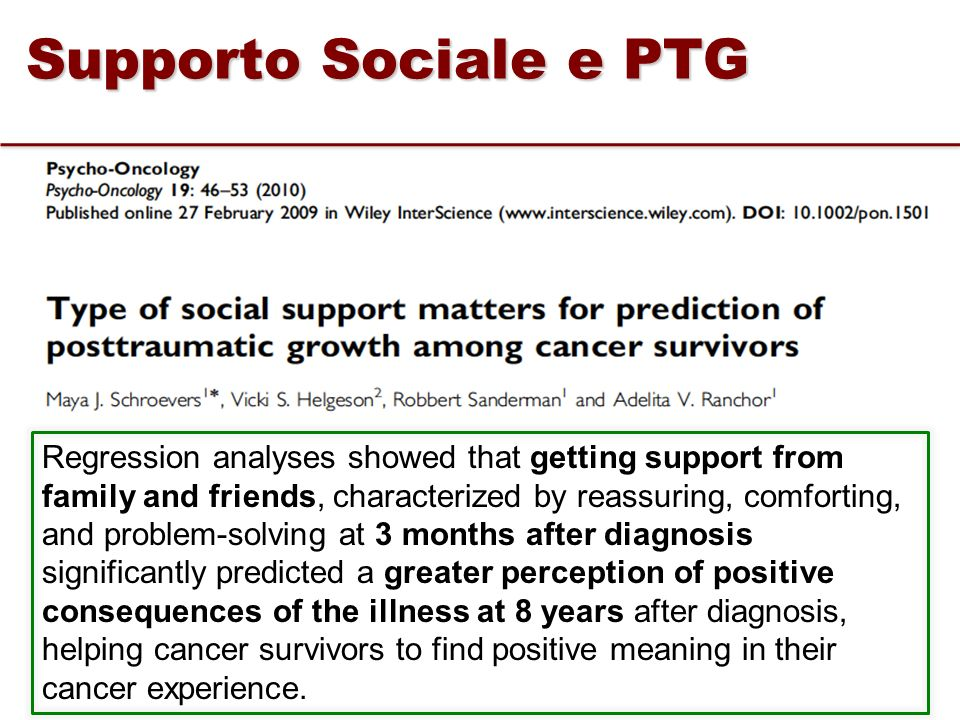 Supporto Sociale e PTG Regression analyses showed that getting support from family and friends, characterized by reassuring, comforting, and problem-s