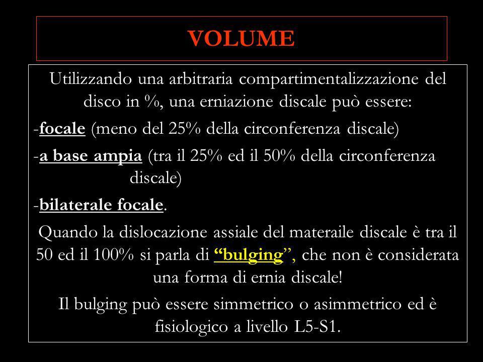 VOLUME Utilizzando una arbitraria compartimentalizzazione del disco in %, una erniazione discale può essere: -focale (meno del 25% della circonferenza