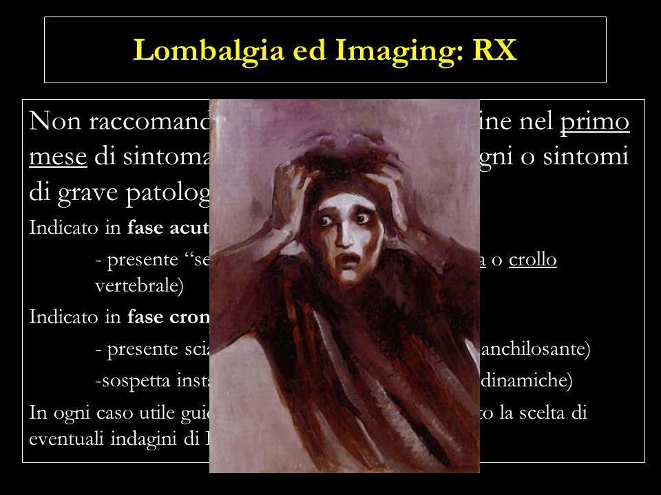 Lombalgia ed Imaging: TC ed RM Non è raccomandata leffettuazione come esami di routine nel primo mese di sintomatologia dolorosa, in assenza di semafori rossi suggestivi di grave patologia spinale.