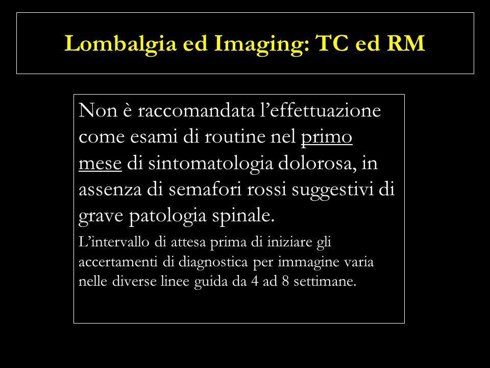 Lombalgia ed Imaging: TC ed RM Non è raccomandata leffettuazione come esami di routine nel primo mese di sintomatologia dolorosa, in assenza di semafo