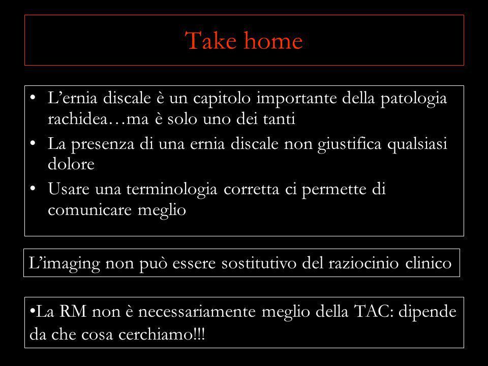 Take home Lernia discale è un capitolo importante della patologia rachidea…ma è solo uno dei tanti La presenza di una ernia discale non giustifica qua