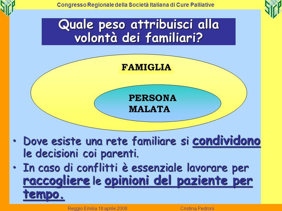 Reggio Emilia 18 aprile 2008 Cristina Pedroni Congresso Regionale della Società Italiana di Cure Palliative Quale peso attribuisci alla volontà dei fa