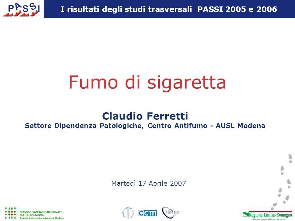 Fumo di sigaretta Martedì 17 Aprile 2007 Claudio Ferretti Settore Dipendenza Patologiche, Centro Antifumo - AUSL Modena I risultati degli studi trasve
