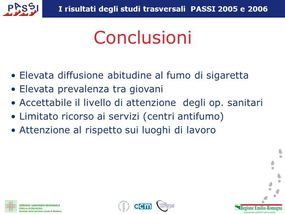 I risultati degli studi trasversali PASSI 2005 e 2006 Conclusioni Elevata diffusione abitudine al fumo di sigaretta Elevata prevalenza tra giovani Acc