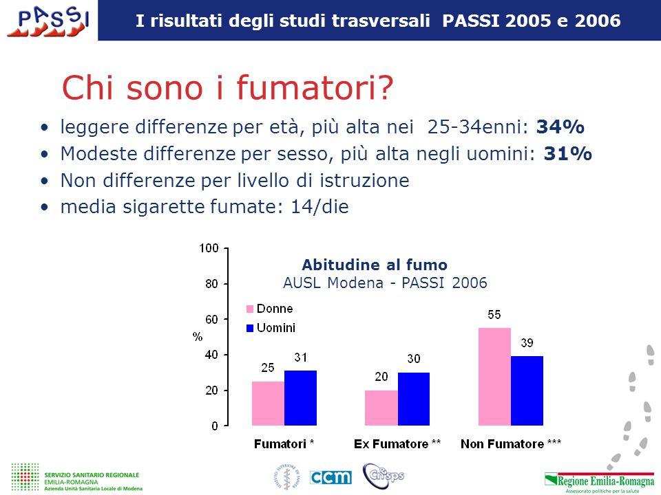 I risultati degli studi trasversali PASSI 2005 e 2006 Chi sono i fumatori? leggere differenze per età, più alta nei 25-34enni: 34% Modeste differenze