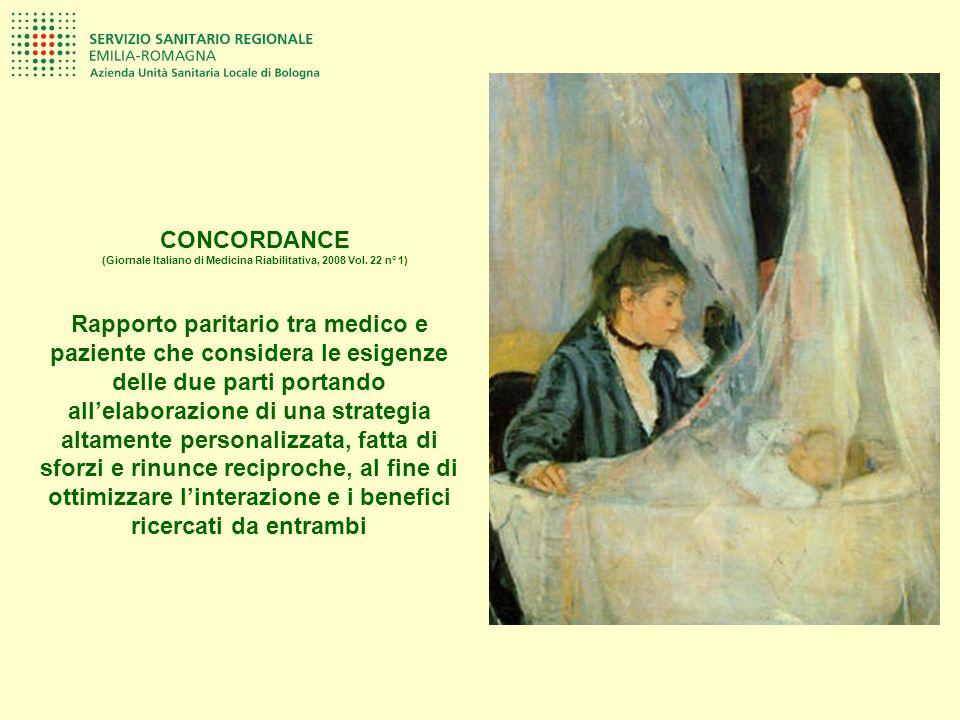 CONCORDANCE (Giornale Italiano di Medicina Riabilitativa, 2008 Vol. 22 n° 1) Rapporto paritario tra medico e paziente che considera le esigenze delle