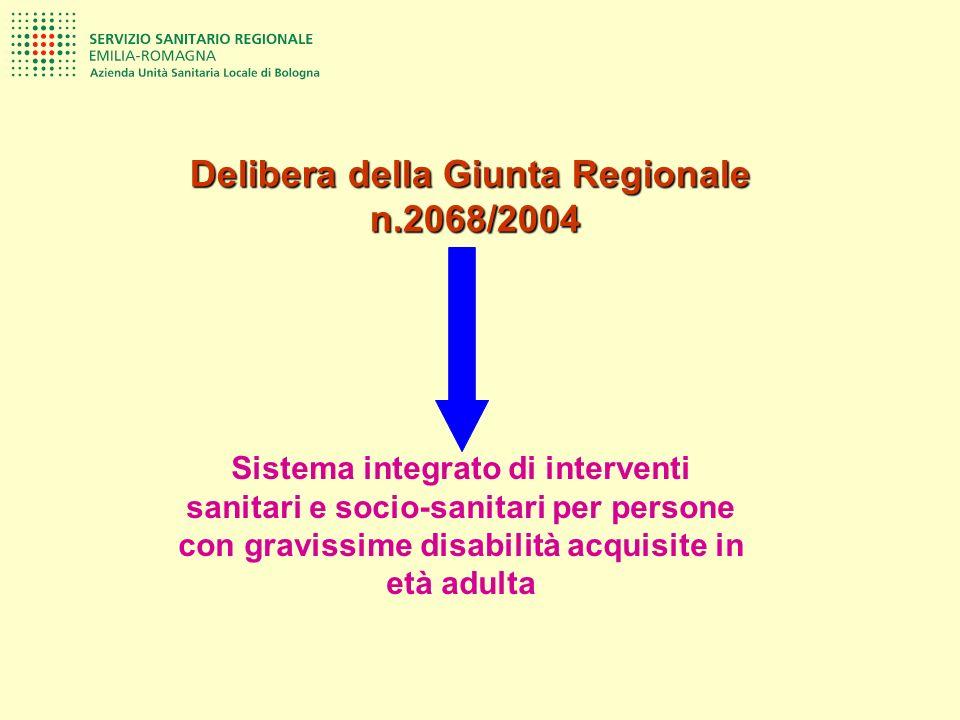 Sistema integrato di interventi sanitari e socio-sanitari per persone con gravissime disabilità acquisite in età adulta Delibera della Giunta Regional