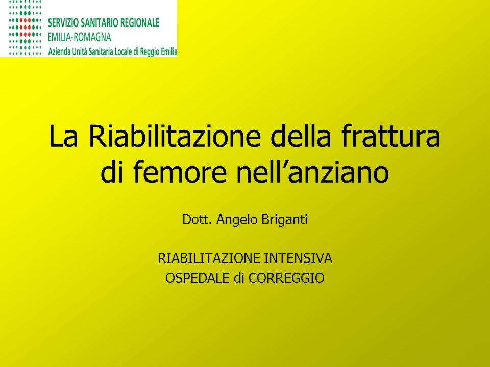 La Riabilitazione della frattura di femore nellanziano Dott. Angelo Briganti RIABILITAZIONE INTENSIVA OSPEDALE di CORREGGIO