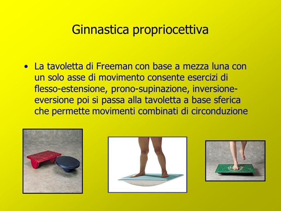 Ginnastica propriocettiva La tavoletta di Freeman con base a mezza luna con un solo asse di movimento consente esercizi di flesso-estensione, prono-su