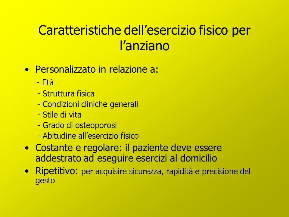 Caratteristiche dellesercizio fisico per lanziano Personalizzato in relazione a: - Età - Struttura fisica - Condizioni cliniche generali - Stile di vi