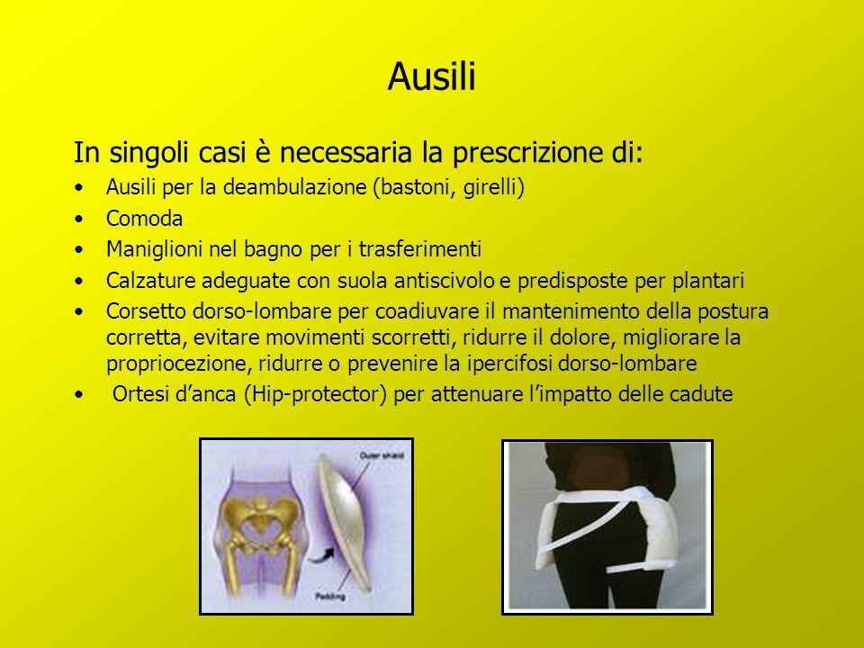Ausili In singoli casi è necessaria la prescrizione di: Ausili per la deambulazione (bastoni, girelli) Comoda Maniglioni nel bagno per i trasferimenti
